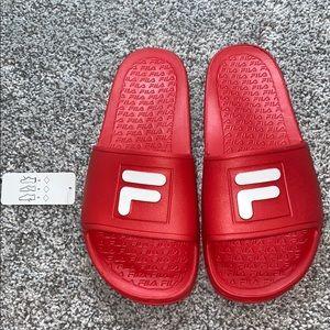 NWT Fila red slides